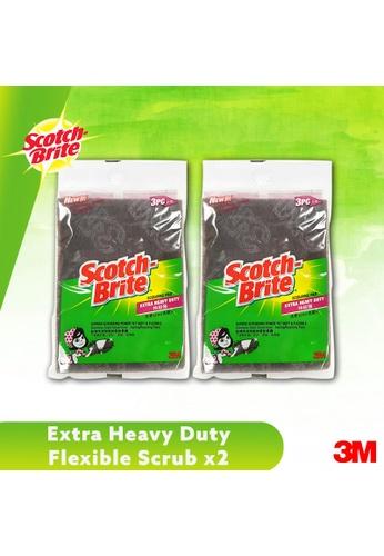 Scotch-Brite 3M Scotch Brite Extra Heavy Duty Flexible Scrub Scouring 3pcs Pad [ET-3M] [Bundle of 2] E52DAES2BAEF51GS_1