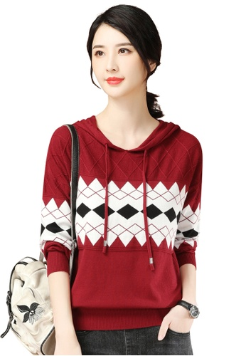 A-IN GIRLS red Retro Contrasting Hooded Sweater C847AAA37DB9B6GS_1