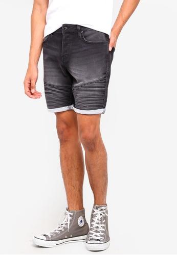 Jack & Jones black Ryder Denim Shorts 67B2FAA6D1FAFDGS_1