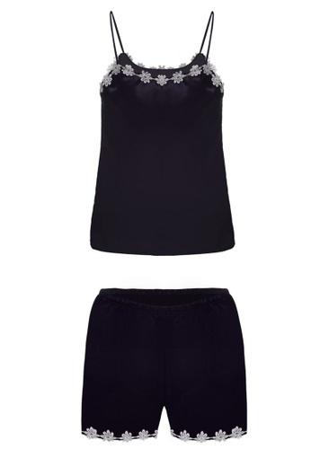 SMROCCO black Mila Spagetti Strap Top Bottom Pyjamas Sleepwear PM8060-B FD49BAAD8E0680GS_1