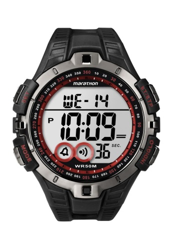 TIMEX black Timex Marathon® - Digital Full-Size Black Resin Strap Watch TI857AC17CQOSG_1