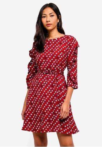 Hopeshow red Star Print Capri Sleeve Dress BD047AA5E97D28GS_1