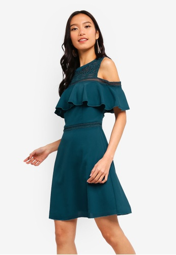 ZALORA green Cold Shoulder Fit And Flare Dress 6D86BAA9384E1FGS_1