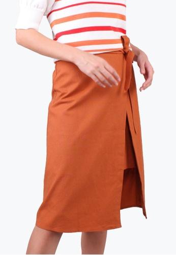 Elle orange Asymmetrical Wrap Skirt - B.Orange 9686AAACE9E123GS_1