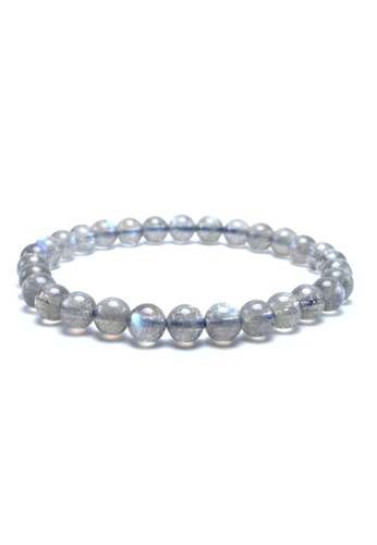 Memento Collection grey Simple Labradorite Stone Bracelet ME060AC0SI5TMY_1