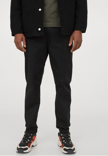 H&M black Brushed Cotton Twill Joggers 88C5EAA3718EA6GS_1