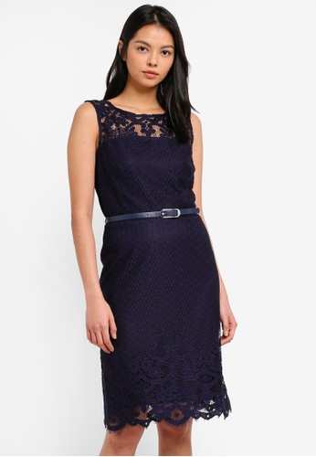 09cffa1dd05 Shop Wallis Navy Belted Lace Fit And Flare Dress Online on ZALORA ...