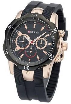 Curren Men's Black Dial Black Rubber Strap Watch 8163