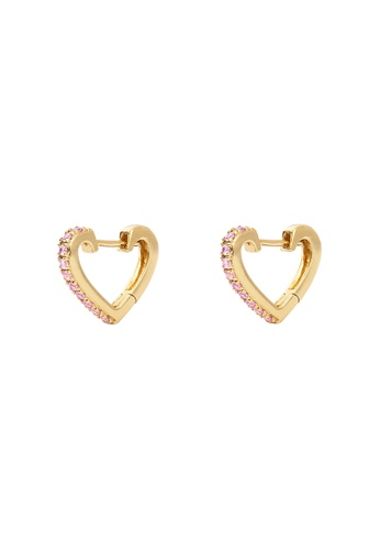 Wanderlust + Co gold Heart Gold Huggie Pink CZ 10mm Earrings 074CFAC695E616GS_1