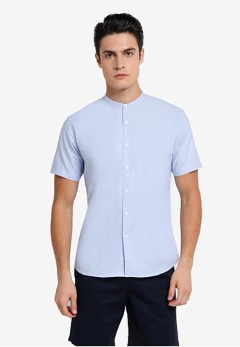 ZALORA blue Slim Fit Mandarin Collar Oxford Short Sleeve Shirt 8D9F1AA8FA2CC0GS_1