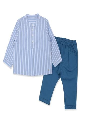 Organic mom blue Organic Cotton Tim Striped Top & Bottom Outfit 533F4KAB49DF6EGS_1