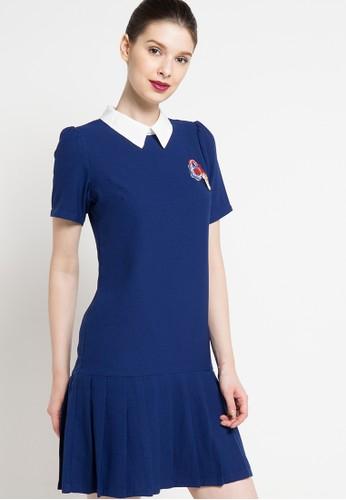 B.L.F navy Cherise Pleat Dress BL612AA59ECIID_1