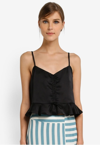TOPSHOP black Satin Ruched Cami Top TO412AA0SLC1MY_1