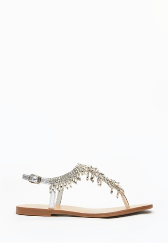 PAZZION silver Dazzling Crystal T-Sandals ABC2DSH739B824GS_1