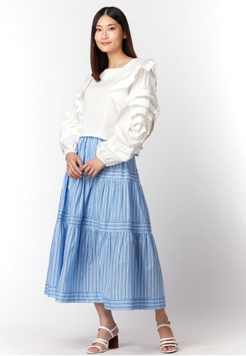 What To Wear white Long Sleeve With Details Cotton Blouse in White 0D286AABF19870GS_1