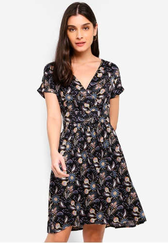 ZALORA black and multi Overlap Fit And Flare Dress 4E628AA5D01D5EGS_1