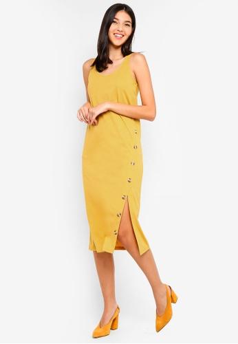 ZALORA yellow Button Detail Tank Tee Dress 08DE6AAF67AC0CGS_1
