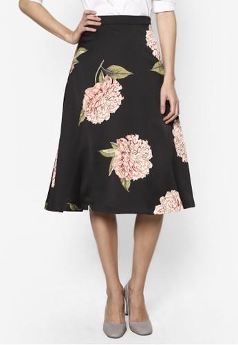 綢緞esprit官網印花及膝A 字短裙, 服飾, 裙子