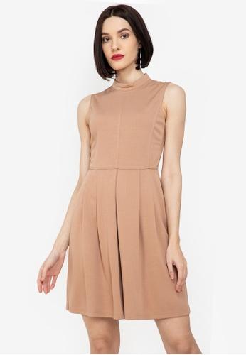 ZALORA WORK brown Mock Neck Sleeveless Dress 6701FAAB220A60GS_1