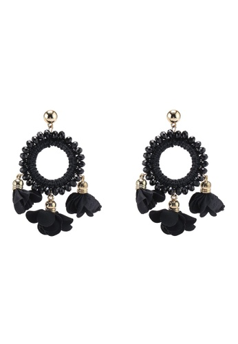 Red's Revenge black Crystal Floral Statement Earrings 11CDAAC47291C7GS_1