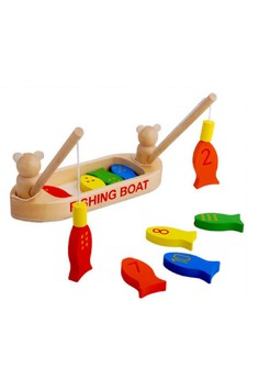 Wooden Magnetic Fishing Boat