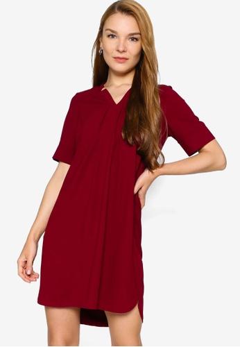 ZALORA WORK 紅色 Cut Out Notch Neck Dress 0E844AABA4295BGS_1