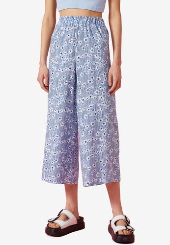 KOTON blue Floral Printed Culotte Trousers 588C9AA89430D0GS_1