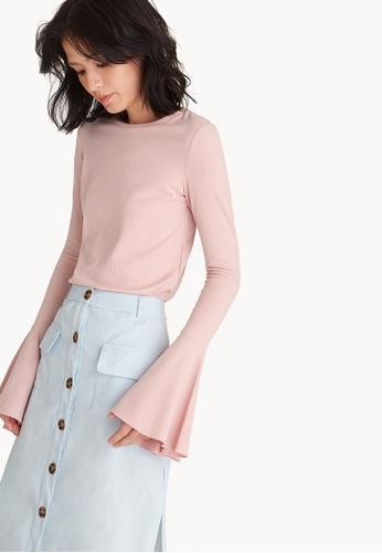 Pomelo pink Flounce Sleeve Jersey Top - Pink 735E5AA937E5DAGS_1