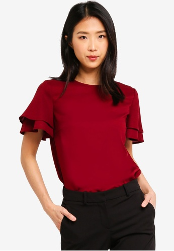 ZALORA BASICS red Basic Layered Sleeves Top B0580AA9D1B9D1GS_1