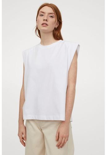 H&M white Sleeveless T-shirt 5AC6CAA54EACC7GS_1