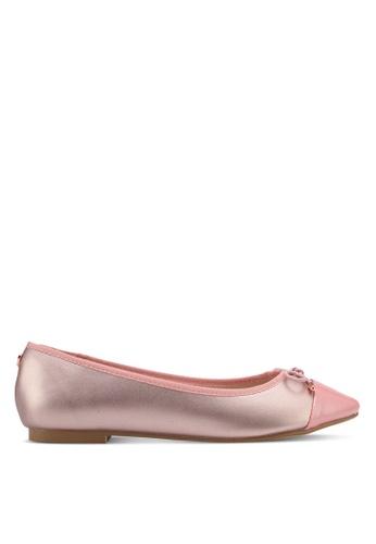 Velvet 粉紅色 Patent Toe Cap Ballerina with Bow E903BSH45AE350GS_1
