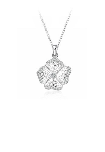 Glamorousky white Fashion Hollow Flower Pendant with Cubic Zircon and Necklace 1E206ACD63B934GS_1