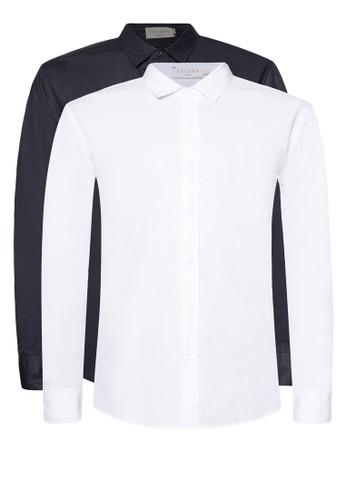 棉質esprit分店長袖襯衫二入組, 服飾, 襯衫