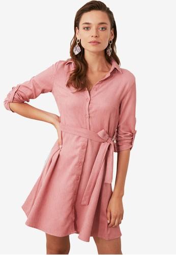 Trendyol pink Corduroy Belted Shirt Dress 81DBEAAF830B19GS_1