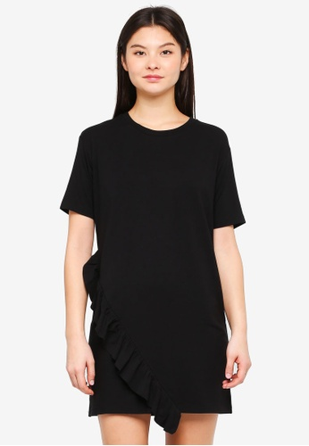 Something Borrowed black Asymmetric Ruffle Tee Dress B1D61AA2DADDFFGS_1
