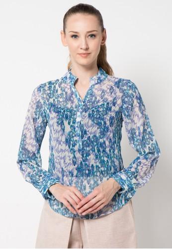 sophistix blue Marti Blouse In Blue Print SO829AA16ARRID_1