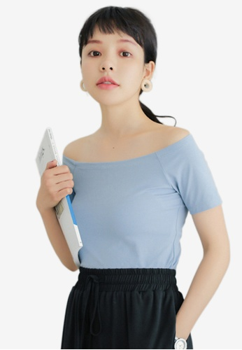 Shopsfashion blue Basic Off Shoulder Blouse 64D3AAA8F3B623GS_1