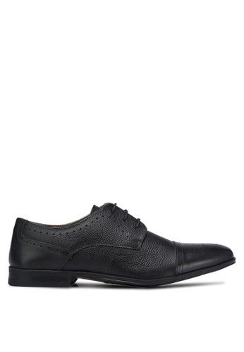 Burton Menswear London black Perforated Toe Cap Dress Shoes BU964SH0RQOIMY_1