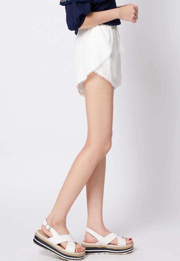 Shorts White Pom Trim Embroidered Beach Pom Tokichoi w6CZq4xHxa