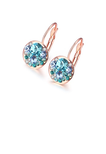 Glamorousky blue Fashion Elegant Plated Rose Gold Round Earrings with Blue Austrian Element Crystal BC0BEAC2922255GS_1