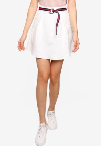 ZALORA BASICS 白色 腰帶褶飾短裙 D2CDAAA31BED06GS_1