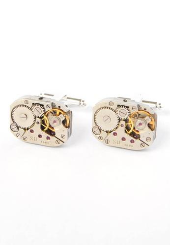 Splice Cufflinks silver Rectangular Original Watch Movement Cuffinks SP744AC93CPQSG_1