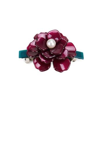 Glamorousky white Fashion and Elegant Purple Rose Imitation Pearl Hair Slide 1B894AC3D36028GS_1