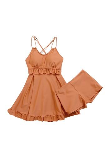 ZITIQUE orange Women's Ruffled Cross-back One-piece Swimsuit (2-piece Set) - Orange 6DB2AUSA1ABA2CGS_1