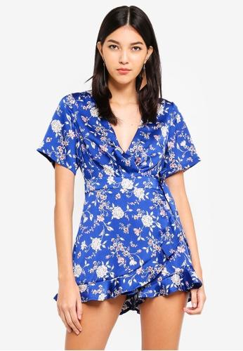 MISSGUIDED blue Floral Print Wrap Over Playsuit 2DA04AAF4A8BEAGS_1