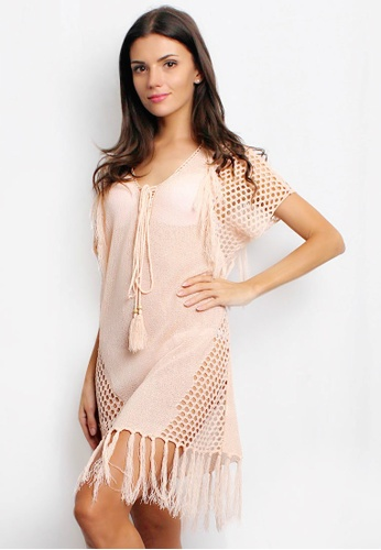 Shapes and Curves pink Knitted Tassle Fringe Beach Cover Up Dress SH408US51DRGPH_1