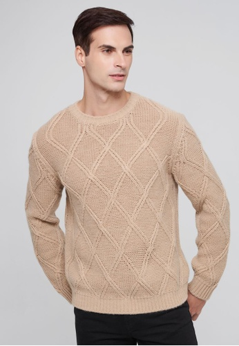 United Colors of Benetton brown Sweater with Diamond Pattern 81AF9AA6456ADAGS_1