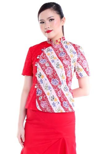DhieVine Batik red and multi Juniper Lereng Encim Merah Batik Blouse Qipao D0EABAAE44257DGS_1