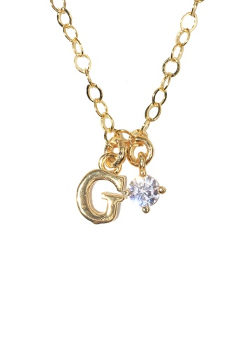 PSYNDROME gold Personalised Initial Letter Alphabet with Cubic Zircona Necklace - G 078CCACFD45BC2GS_1