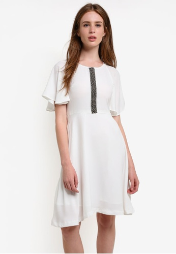 Megane white Nadia Butterfly Sleeve Dress ME617AA0REK1MY_1